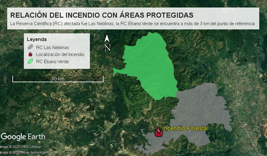 Georreferenciación del fuego y su relación con las Reservas Científicas de la zona. Elaboración cartográfica redacción de Vanguardia del Pueblo.